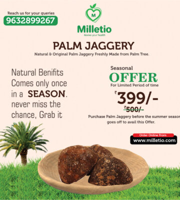 Buy-Palm-Jaggery-from-milleito.com-season-offer-banner-millets-in-bangalore